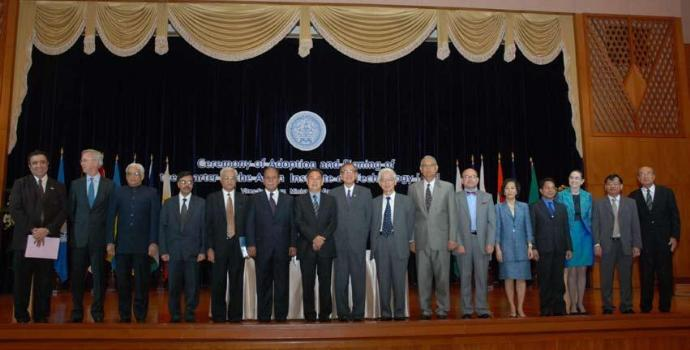 Representatives of twelve countries and one International Organization after the signing of the new Charter of the Asian Institute of Technology (AIT).